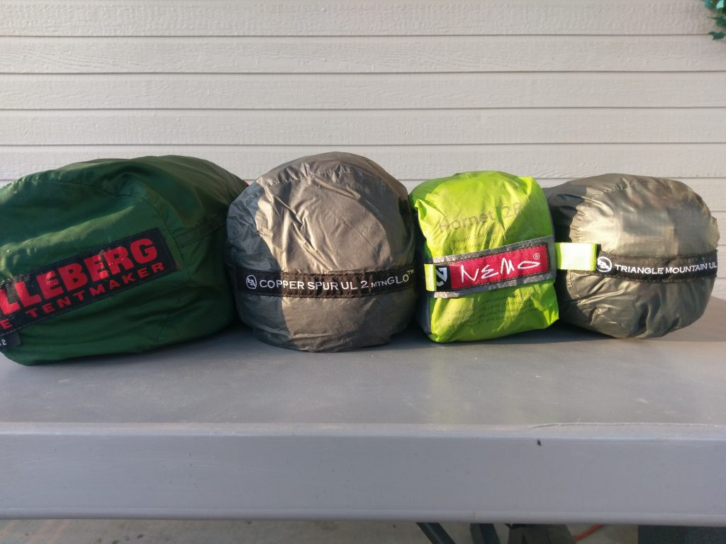 Hilleber Anjan 2, Big Agnes Copper Spur UL 2, Nemo Hornet 2P, Big Agnes Triangle Mountain